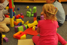 Photograph: Preschool children building with blocks