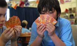 Photograph: Students playing Numero maths game