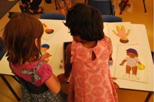 Photograph: Preschool students matching activity
